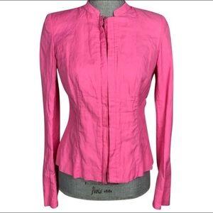 Lafayette 148 Pink Crinkle Zip Jacket Size 8